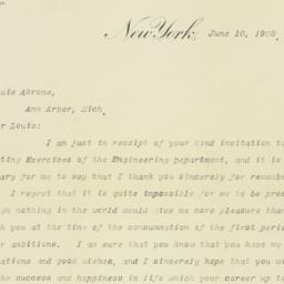 Letter: 1908 June 10