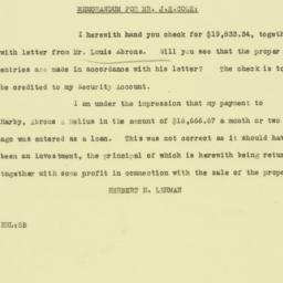 Memorandum: 1926 January 21