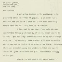 Letter: 1926 May 25