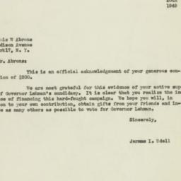 Letter: 1949 October 20