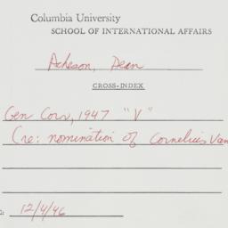 Memorandum: 1946 December 4