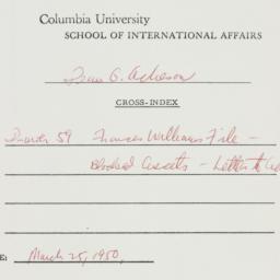 Memorandum: 1950 March 25