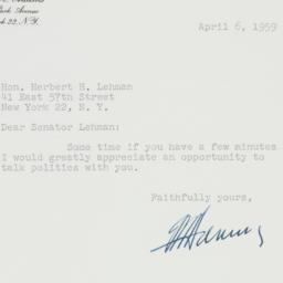 Letter : 1959 April 6