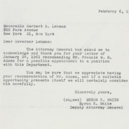 Letter : 1961 February 6