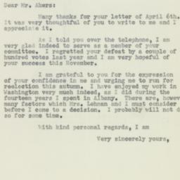 Letter: 1956 April 11