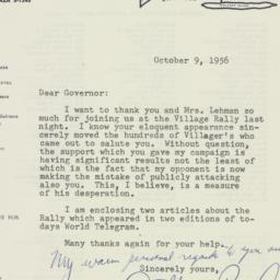 Letter: 1956 October 9