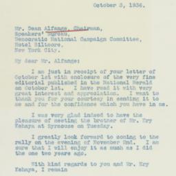 Letter : 1936 October 3