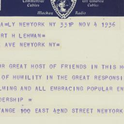 Telegram : 1936 November 4