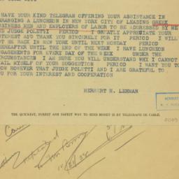 Telegram : 1938 October 24