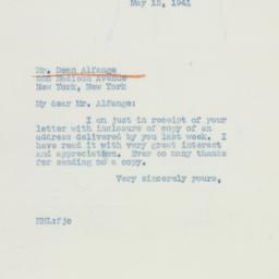 Letter: 1941 May 12