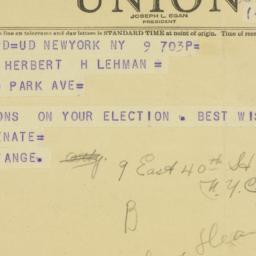 Telegram: 1949 November 9