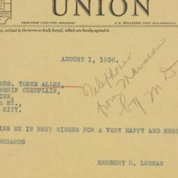 Telegram : 1936 August 1
