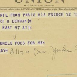 Telegram: 1950 September 12