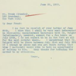 Letter: 1933 June 30