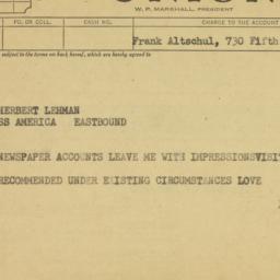 Telegram: 1953 August 18