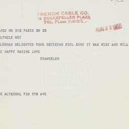 Telegram: 1956 August 23