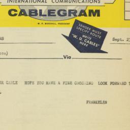 Telegram: 1957 September 23