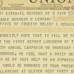 Telegram: 1943 May 3