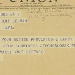Telegram : 1941 March 7