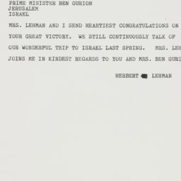 Telegram : 1959 November 7