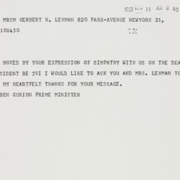 Telegram : 1963 May 11