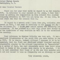 Letter: 1950 May 18