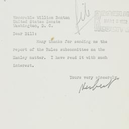 Letter: 1952 March 1