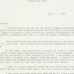 Letter: 1954 February 17