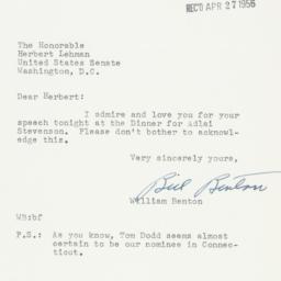 Letter: 1956 April 26
