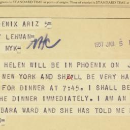 Telegram: 1957 January 5