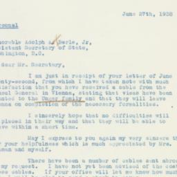 Letter : 1938 June 27