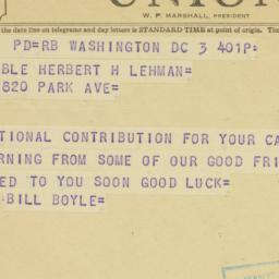 Telegram : 1950 November 3