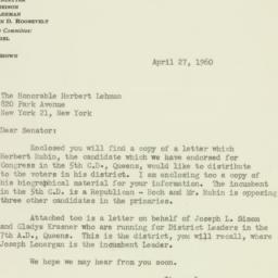 Letter : 1960 April 27