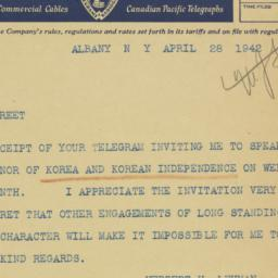 Telegram : 1942 April 28