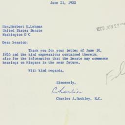 Letter : 1955 June 21