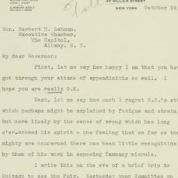 Letter : 1933 October 19