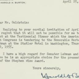 Letter : 1955 April 25