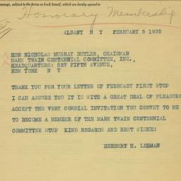Telegram : 1935 February 5
