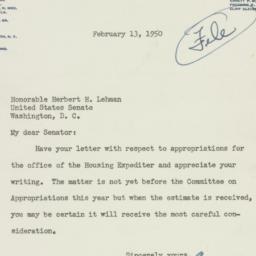 Letter: 1950 February 13