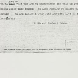 Telegram : 1938 April 28