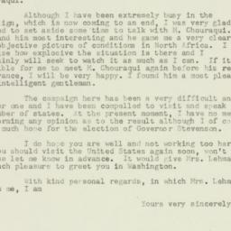 Letter : 1952 November 2