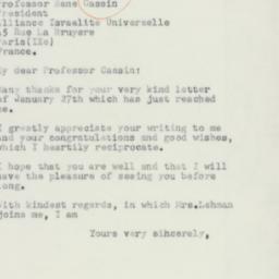 Letter: 1954 February 6