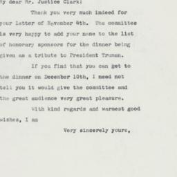 Letter : 1960 November 7