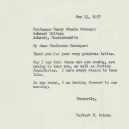Letter : 1958 May 13