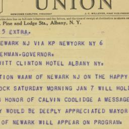 Telegram : 1933 January 6