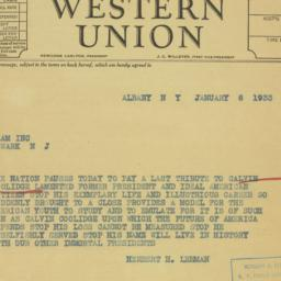 Telegram : 1933 January 6