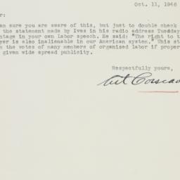 Letter : 1946 October 11