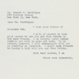 Letter : 1959 November 7