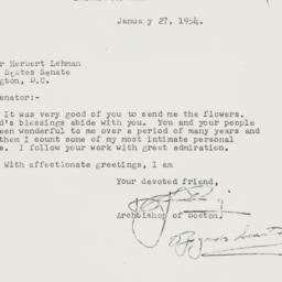 Letter : 1954 January 27