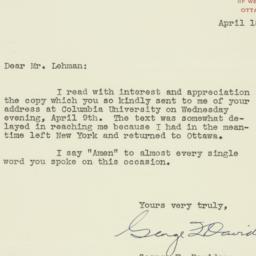 Letter : 1947 April 18